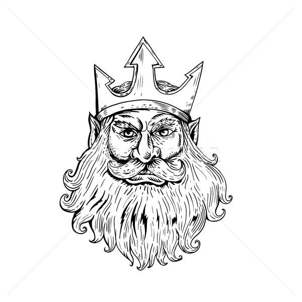 Poseidon Wearing Trident Crown Woodcut Stock photo © patrimonio