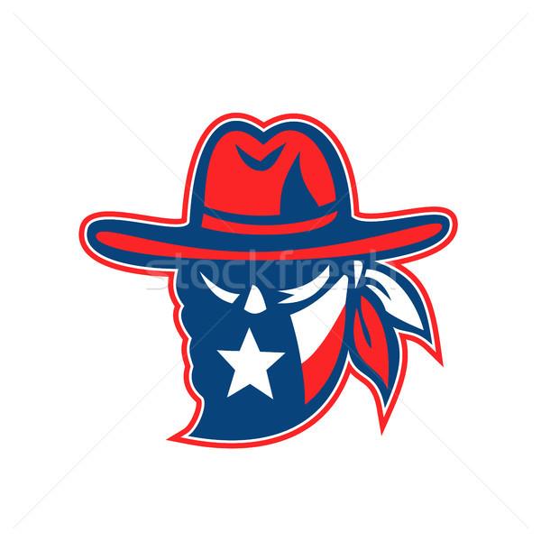 Teksas bayrak maskot retro tarzı örnek Stok fotoğraf © patrimonio