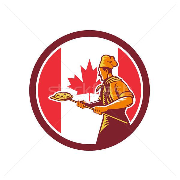 Canadian Pizza Baker Canada Flag Icon Stock photo © patrimonio