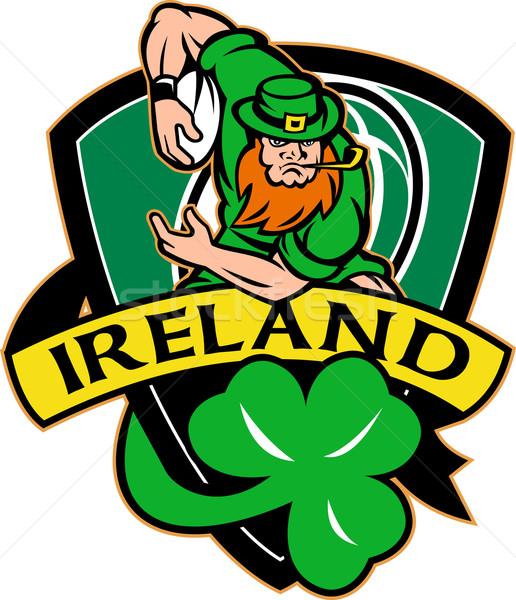 Irish leprechaun rugby player ball shamrock Stock photo © patrimonio