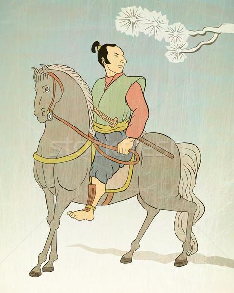 Samurai guerreiro equitação cavalo ilustração espada Foto stock © patrimonio
