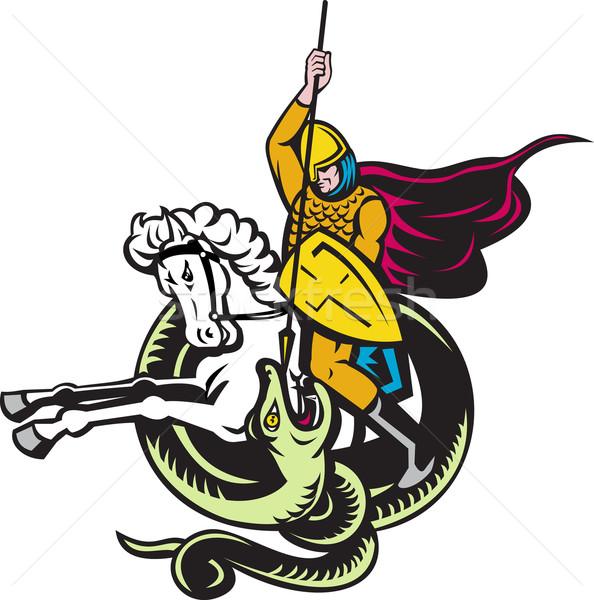 knight riding horse fighting dragon snake Stock photo © patrimonio