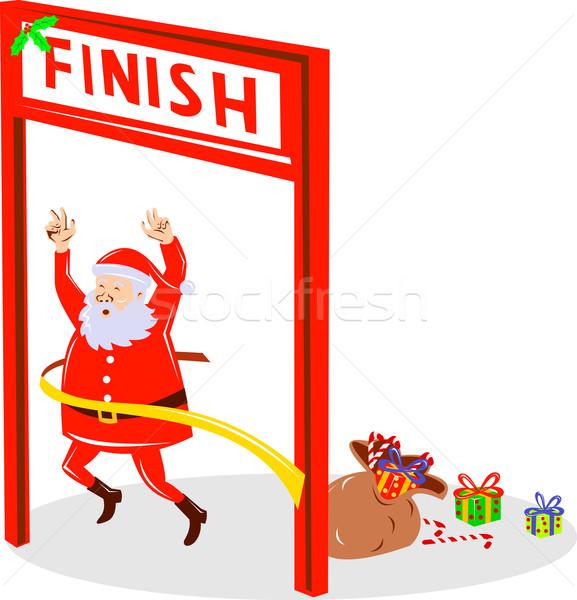 Father Christmas Santa Claus finishing race Stock photo © patrimonio