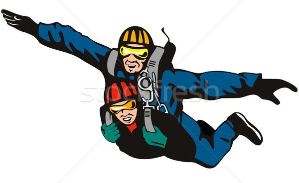 Tandem skydiving illustratie mannelijke vrouwelijke ingesteld Stockfoto © patrimonio