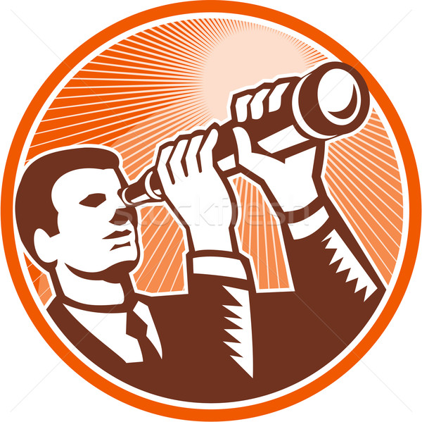 Businessman Holding Looking Telescope Woodcut Stock photo © patrimonio