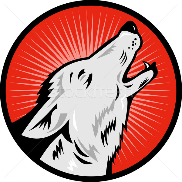 wolf howling side view Stock photo © patrimonio