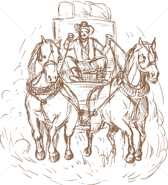 Cowboy stagecoach driver and horses front Stock photo © patrimonio