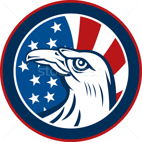 American eagle with stars and stripes flag Stock photo © patrimonio