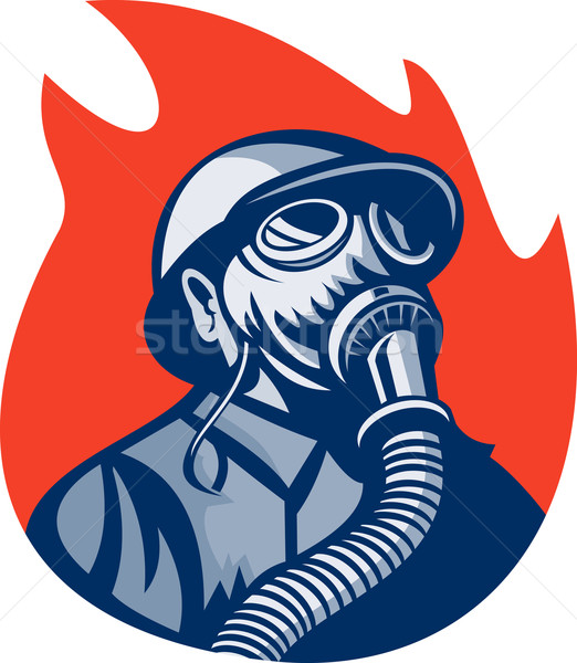 Stockfoto: Brandweerman · brandweerman · vintage · gasmasker · illustratie