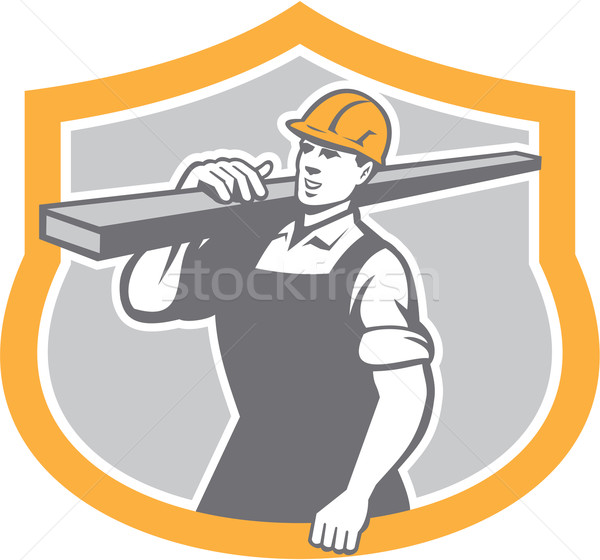Carpenter Carry Lumber Shield Retro Stock photo © patrimonio
