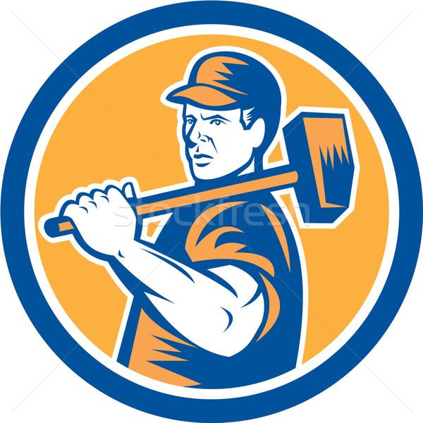 Union Worker Holding Sledgehammer Circle Retro Stock photo © patrimonio