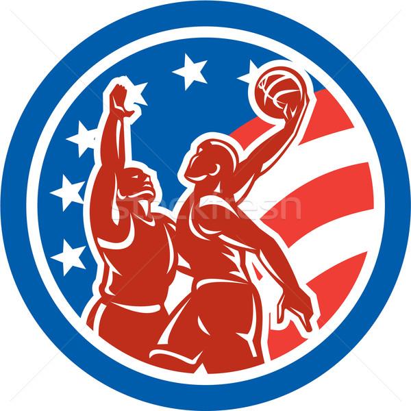 American Basketball Player Dunk Block Circle Retro Stock photo © patrimonio