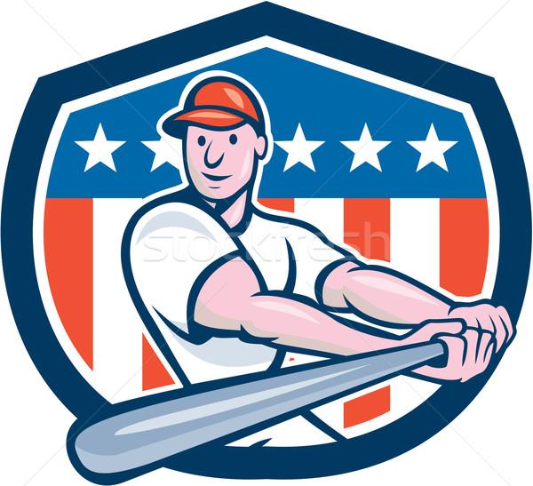 American Baseball Player Batting Shield Cartoon Stock photo © patrimonio