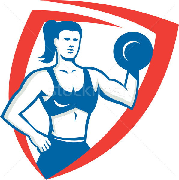Stock photo: Personal Trainer Female Lifting Dumbbell Retro