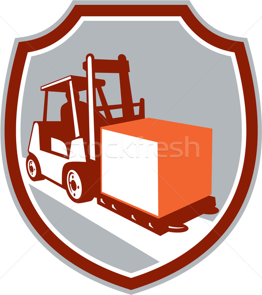 Forklift Truck Box Shield Retro Stock photo © patrimonio