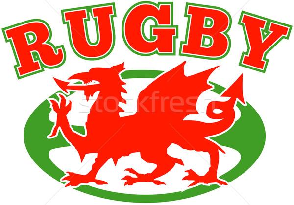 Pelota de rugby gales rojo dragón ilustración deporte Foto stock © patrimonio