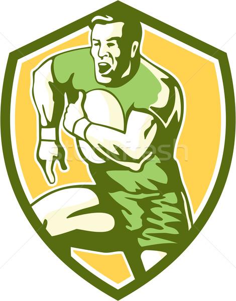 регби игрок работает гусь шаги щит Сток-фото © patrimonio