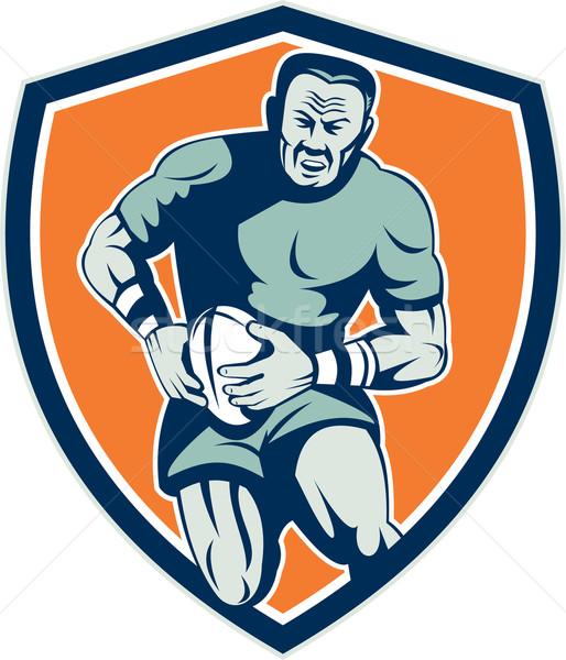 Rugby Player Running Attacking Shield Retro Stock photo © patrimonio