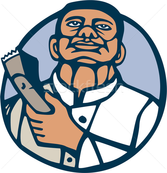 Barber Hair Clipper Scissors Circle Linocut Stock photo © patrimonio