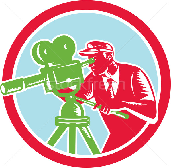 Cameraman Vintage Movie Camera Woodcut Stock photo © patrimonio