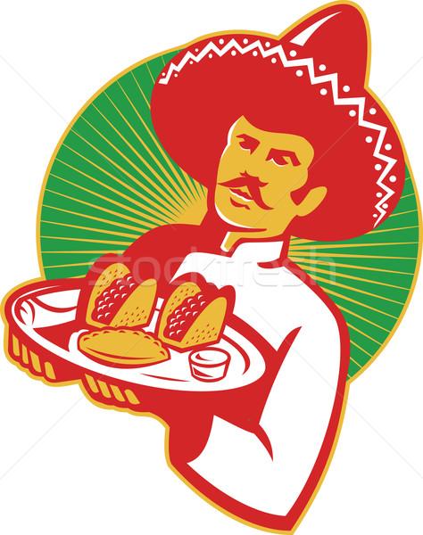 Mexican Chef Serving Taco Burrito Empanada Retro Stock photo © patrimonio