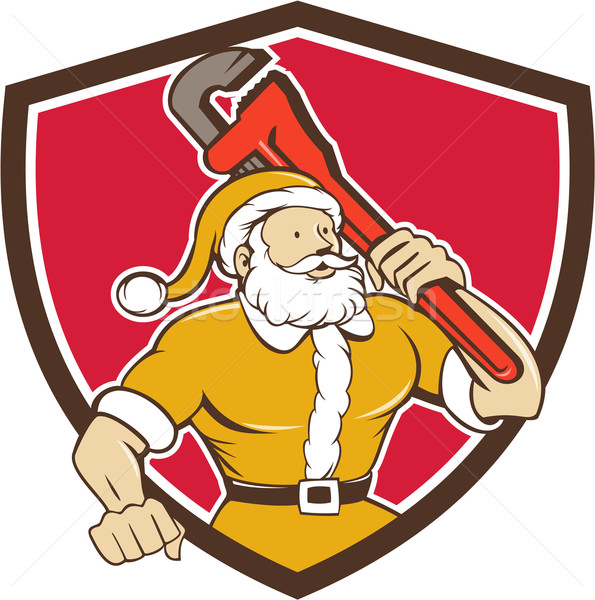 Santa Claus Plumber Monkey Wrench Shield Cartoon Stock photo © patrimonio
