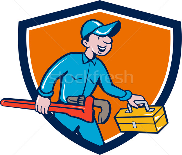 Plumber Carrying Monkey Wrench Toolbox Shield Stock photo © patrimonio