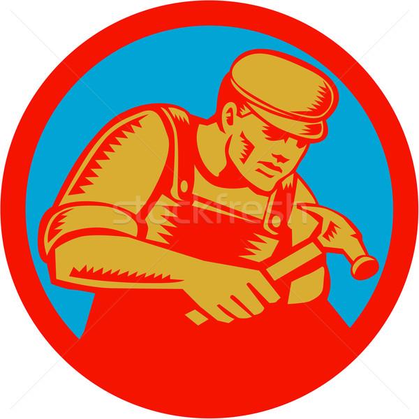 Carpenter With Hammer Circle Woodcut Stock photo © patrimonio