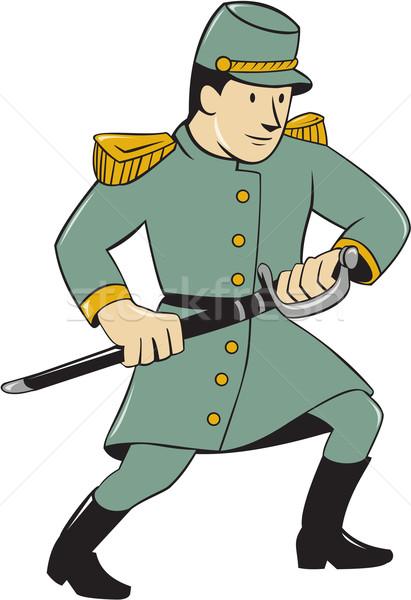 Confederate Army Soldier Drawing Sword Cartoon Stock photo © patrimonio