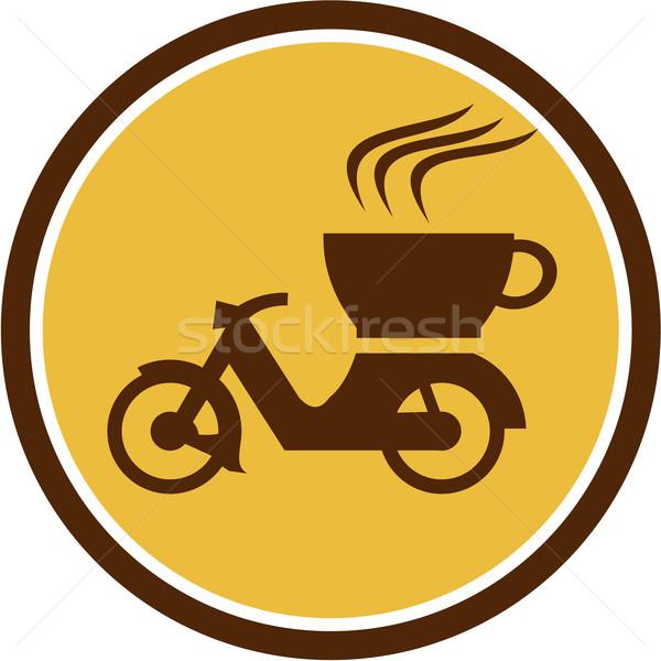 Café entrega motocicleta círculo retro ilustração Foto stock © patrimonio