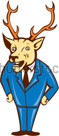 Jackalope Arms Crossed Standing Cartoon Stock photo © patrimonio