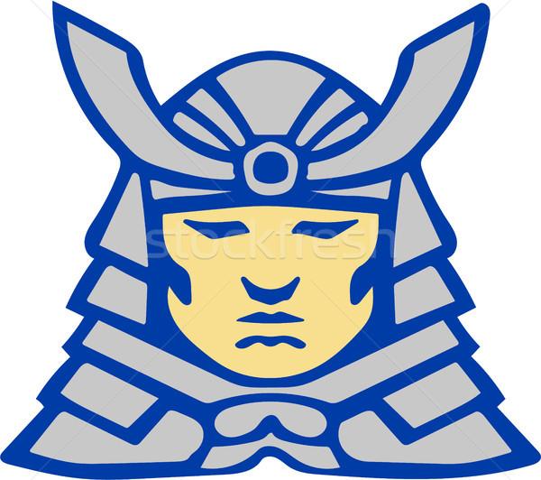 Samurai cabeza armadura casco retro ilustración Foto stock © patrimonio