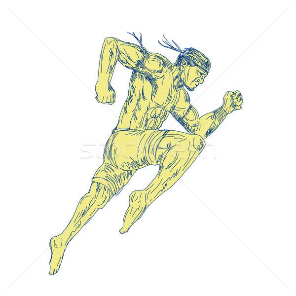 Muay thai vadászrepülő rúg oldal rajz rajz Stock fotó © patrimonio