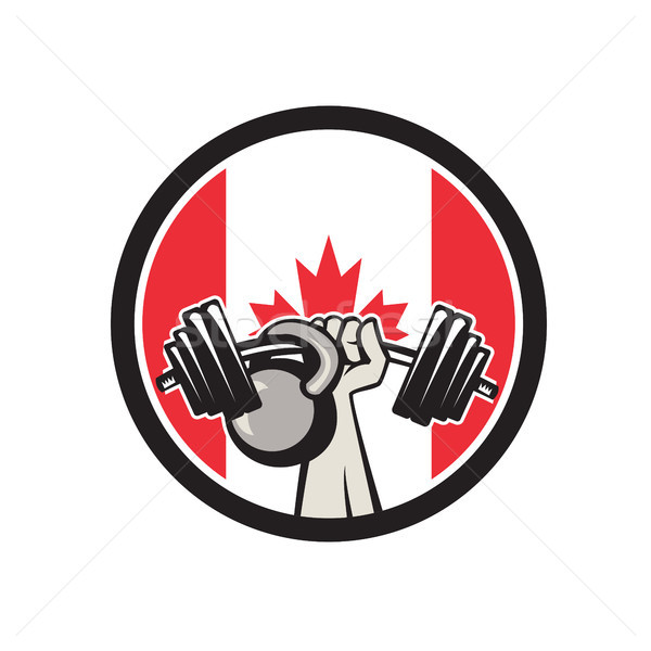 Mão barbell Canadá bandeira Foto stock © patrimonio