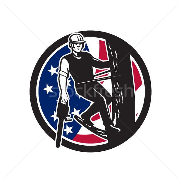 American Tree Surgeon USA Flag Icon Stock photo © patrimonio