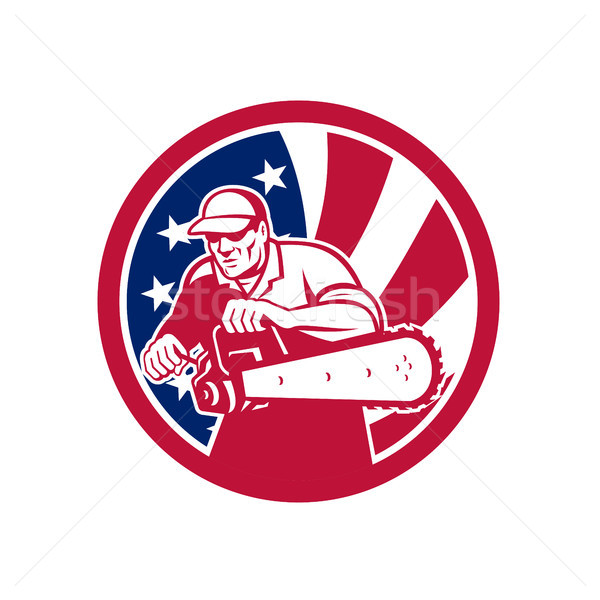 American Lumberjack USA Flag Icon Stock photo © patrimonio