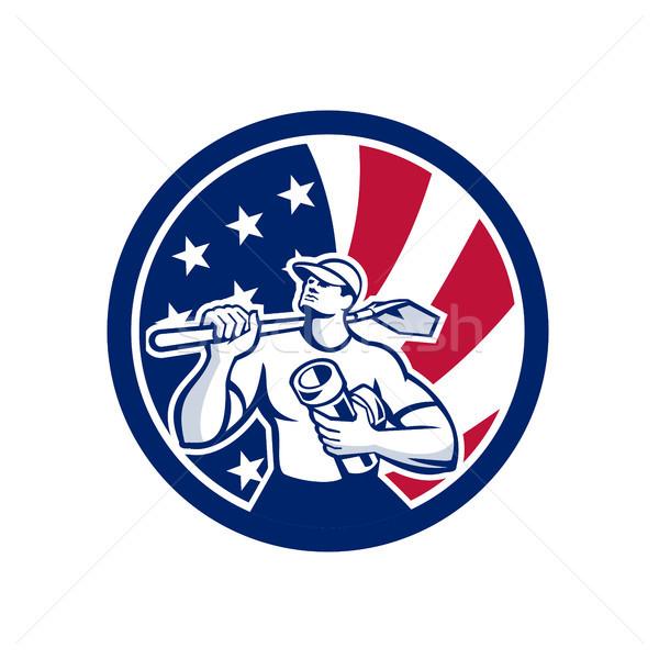 American Drainlayer USA Flag Icon Stock photo © patrimonio