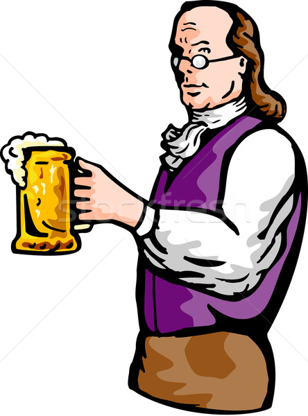 Benjamin Franklin gentleman holding mug of beer Stock photo © patrimonio