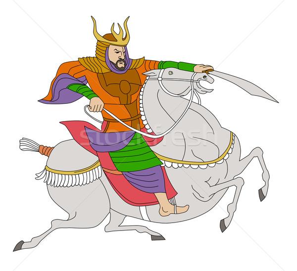 Samurai guerreiro espada equitação cavalo ilustração Foto stock © patrimonio