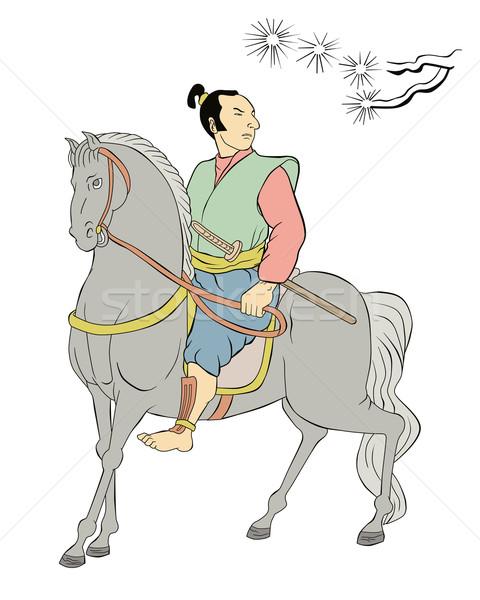 ストックフォト: 武士 · 戦士 · ライディング · 馬 · 実例 · 剣