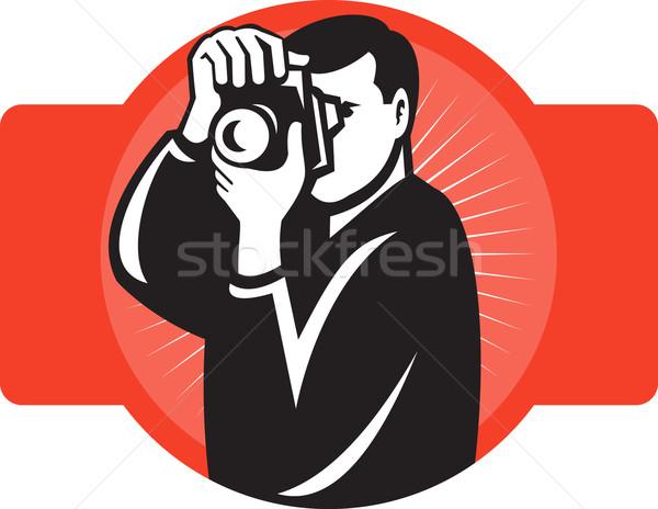 photographer aiming slr camera front Stock photo © patrimonio