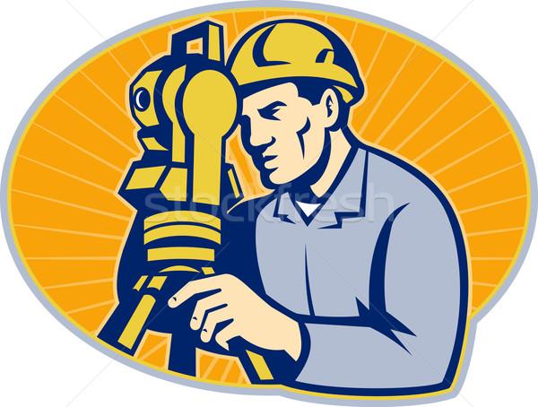 Surveyor Engineer Theodolite Total Station Stock photo © patrimonio