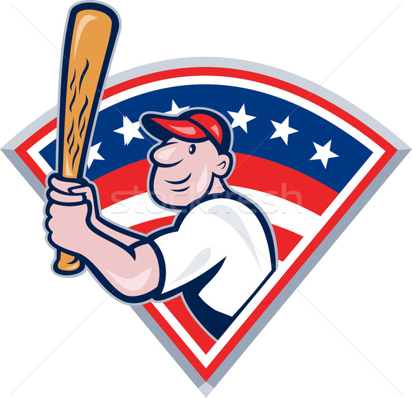 American Baseball Player Batting Cartoon Stock photo © patrimonio