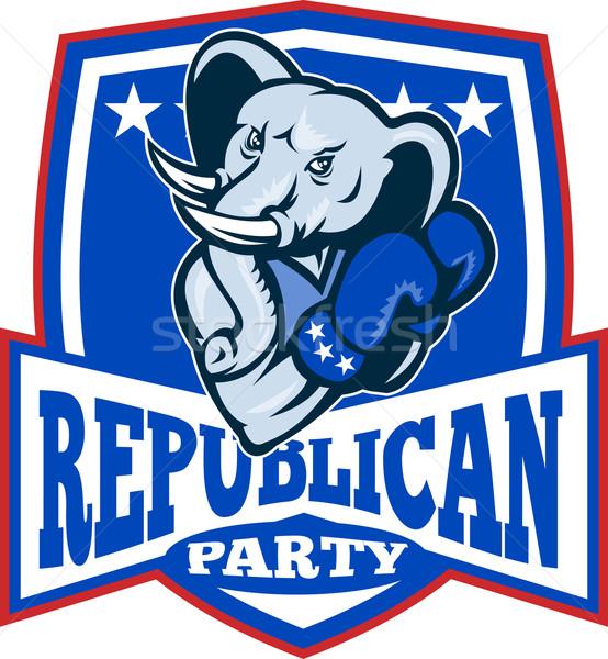 Foto stock: Republicano · elefante · mascote · boxeador · escudo · ilustração