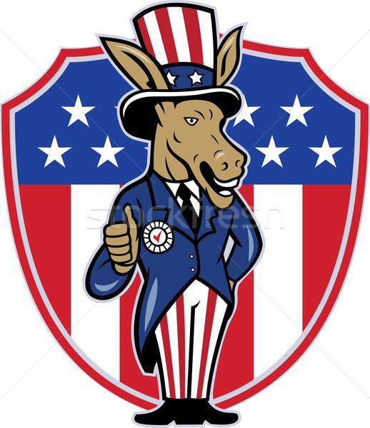 Democrat Donkey Mascot Thumbs Up Flag Stock photo © patrimonio