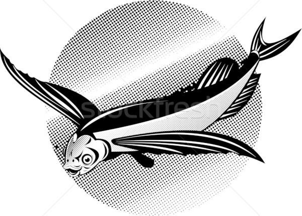 Stock fotó: Repülés · hal · retró · stílus · illusztráció · izolált