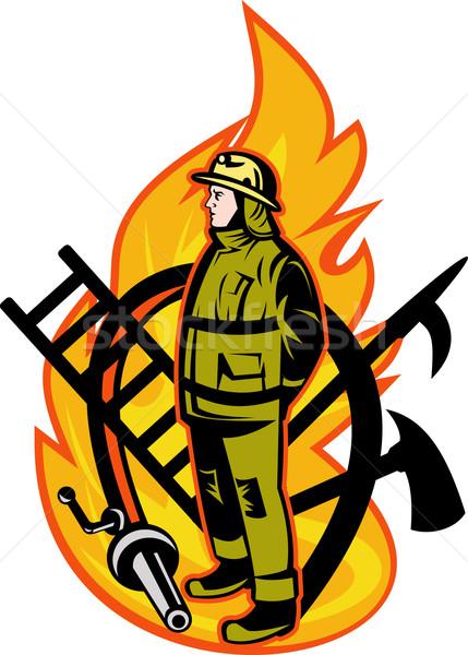 Pompier pompier ax échelle lance crochet Photo stock © patrimonio