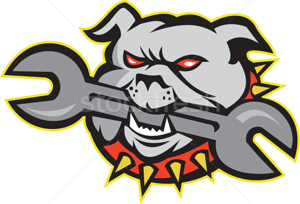 Bulldog Dog Spanner Head Mascot Stock photo © patrimonio