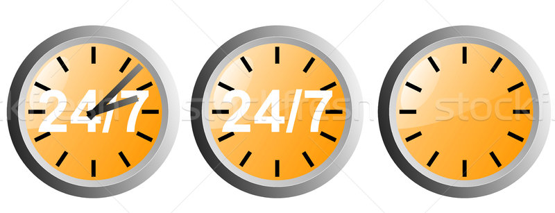 24/7 Clock Icon Stock photo © patrimonio