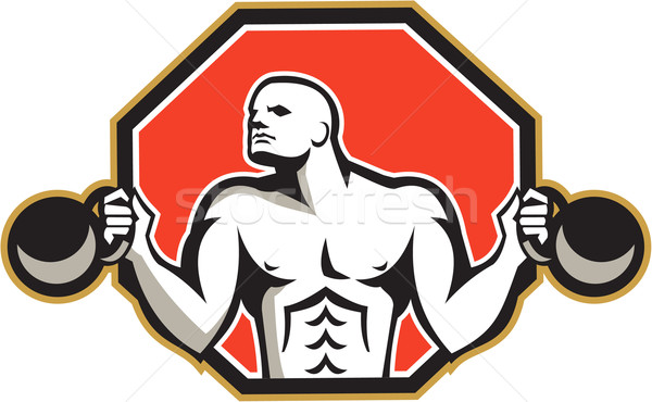Strongman Lifting Kettlebell Front Retro Stock photo © patrimonio